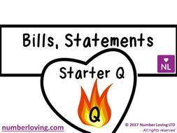 FREE 9-1 New Spec Bills, Statement Quick Fire Questions