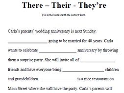 There - Their - They're Worksheet - Fill in the Blank