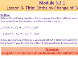A Level Chemistry OCR A Module 3.2.1 Lesson 3 Enthalpy ...