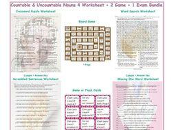 Countable & Uncountable Nouns 4 Worksheet-2 Game-1 Exam Bundle