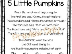 5 Little Pumpkins Printable Poem for Kids