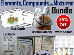 Elements Compounds Mixtures Task Cards and Activities Bundle