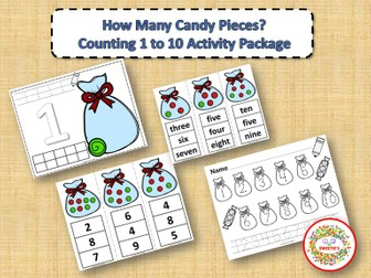 Count 1 to 10 - How Many Candy Pieces Counting Activity Package