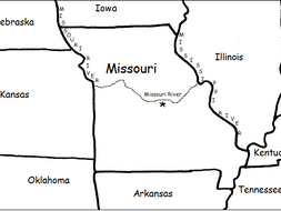MISSOURI - Printable handouts with map of Missouri and surrounding states