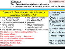 Eduqas/WJEC GCSE History ELIZABETH I exam question revision PowerPoint & worksheet