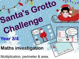 Maths Christmas Investigation Challenge mastery multiplication KS2 Year 3/4  perimeter area 8x 9x