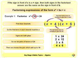 Factorising Quadratic Expressions KS4