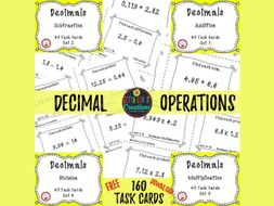 Free Download - Decimals Task Cards