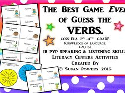 The Best Game of Guess the Verbs Drama Literacy Activity