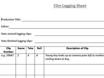 Film Logging Sheet (Film & TV/Media Students)