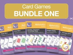 Card Game Bundle 1 | 5 Games for Basic Math - Fractions, Averages, Area, Angles and Negative Numbers
