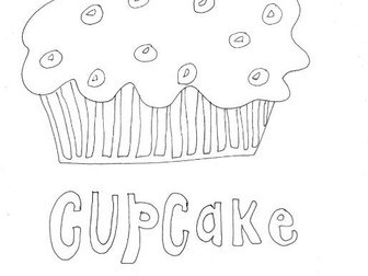 Cupcake (3):  Colouring Page