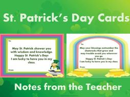 St. Patrick's Cards: Notes from the Teacher