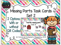 Missing Part Task Cards Set 2: 1st Grade CC: Operations & Algebraic Thinking