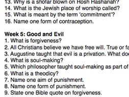 Eduqas Religious Studies GCSE Revision Quizzes