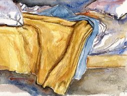 Watercolor paintings 'Bed in the Hospital' - free art resource