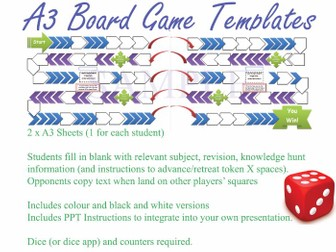 A3 2-Player Board Game [Template / Learning Activity] (Adaptable to any subject, topic, revision...)