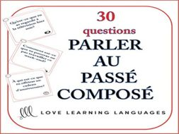 GCSE FRENCH: Passé Composé Speaking Task Cards