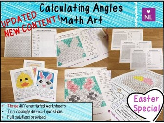 Calculating Angles Math Art Worksheets (Easter Special)