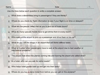 Airports and Hotels Write Complete Answers Worksheet