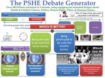 The PSHE Debate Generator [200+ Debates, Randomisation Feature] (Discussions, form tutor, health)