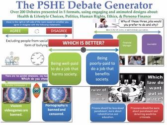 The PSHE Debate Generator [200+ Debates, Randomisation Feature] (Discussions, form tutor, health)