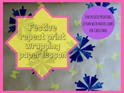 Christmas potato print wrapping paper repeat pattern practical lesson