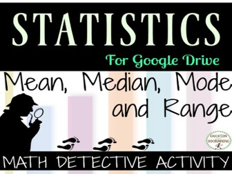 Mean Median Mode Math Detective Activity for Digital Classrooms