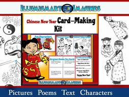 chinese new year card making kit poems pictures text characters