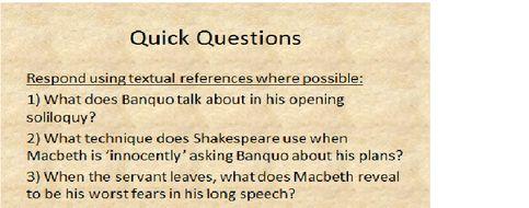 Macbeth Act2, Scene 4 - Act 3, Scene 2