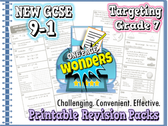 "New GCSE Maths 9-1 Higher Revision Pack With Solutions- Target Grade 7 ""one-page wonder"""