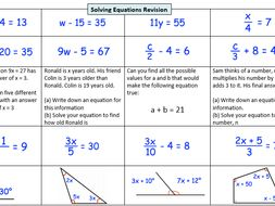 Solving Linear Equations Revision Grid