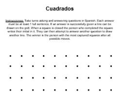 Cuadrados Speaking game practice