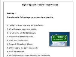 spanish future tense worksheet el futuro by roisin89 teaching resources. Black Bedroom Furniture Sets. Home Design Ideas