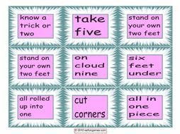 Idiom Cards # 1- 4 Pages = 36 Cards