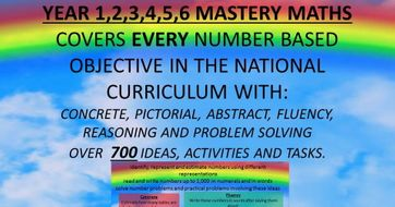 YEAR 1,2,3,4,5,6 MASTERY MATHS COVERS EVERY OBJECTIVE IN THE NATIONAL CURRICULUM WITH: CONCRETE, PICTORIAL, ABSTRACT, FLUENCY, REASONING AND PROBLEM SOLVING OVER 700 IDEAS, ACTIVITIES AND TASKS.