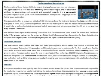 The International Space Station (ISS) - Reading Comprehension Text