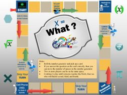 x = What? Game Board for the Secondary Classroom