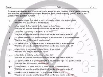 Telling Time Spelling Challenge Worksheet