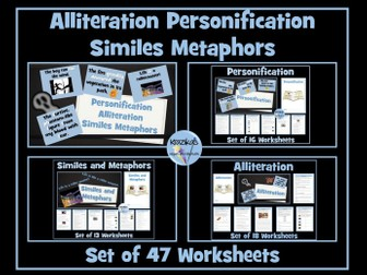 Similes, Metaphors, Personification, Alliteration : 47 Worksheets