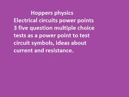 Circuits lesson starters by Hoppers Physics