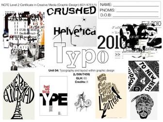 NCFE L2 Graphic Design UNIT 04 - SCHEME OF WORK