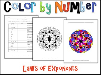 Laws of Exponents Color by Number