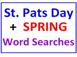 St. Patrick's Day Word Search Puzzle PLUS Spring Word Search (2 Puzzles)