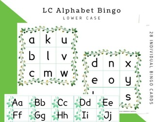 Alphabet Bingo: LOWERCASE