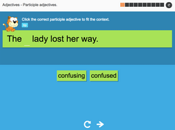 Participle adjectives - Interactive Activity - KS3 Spag