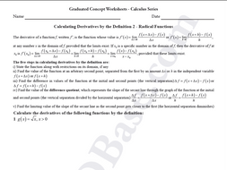 Calculus Worksheet - Derivatives by Definition 2 - Radical Functions ...
