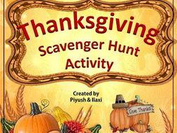 Thanksgiving scavenger Hunt- An Activity