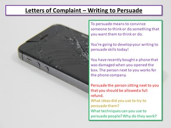 Letters of Complaint - Writing to Persuade