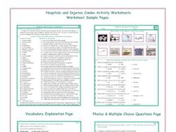 Hospitals and Injuries Combo Activity Worksheets